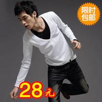 2013新款秋装T恤 男长袖上衣服 男款假两件T恤长袖V领修身T恤 男 价格:28.00