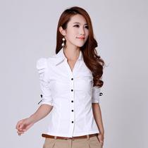 韩版新款短袖OL通勤女衬衫中袖V领泡泡袖修身款五分袖女衬衫正装 价格:59.40