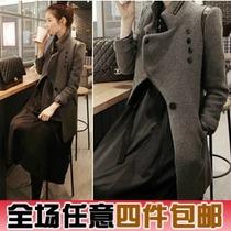 2013女装新款 韩版气质修身立领中长款毛呢大衣 毛呢外套 D03 价格:82.00