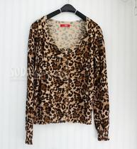 2013年秋款女款ESPRIT埃斯普利旗下Edc原单豹纹针织开衫百搭外套 价格:118.00