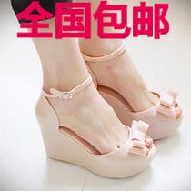 包邮2013新品melissa果冻鞋 蝴蝶结厚底坡跟凉鞋 韩版鱼嘴高跟鞋 价格:36.00