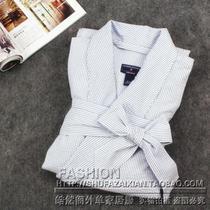 包邮外贸原单家居服男式七分袖长款色织纯棉睡袍浴袍加大码 价格:55.00