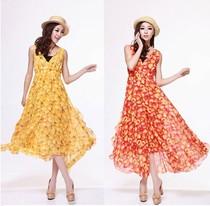 卓奈Cholenite2013春夏新款 水果花 黄色水蜜桃背心裙配腰带可绕 价格:76.00