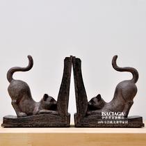 伊莎世家/美式乡村高档仿旧复古工艺装饰品 法式罗维尔猫书挡书靠 价格:228.00