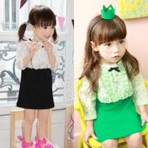 2013秋装韩版新款 蕾丝款女童装宝宝儿童背心裙披肩套装tz-0889 价格:29.90