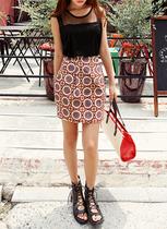 特价2013夏装韩国正品代购 女 dahong 复古民族风花色短裙631103 价格:142.00