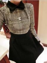 【小蛮妖】2012秋冬学院风假两件拼接格子长袖收腰百褶连衣裙 价格:32.00