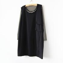 欧美风 宽松大口袋个性无袖背心裙 全棉小毛圈长款外套 黑色灰色 价格:58.00