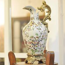 欧式田园复古彩绘陶瓷赏瓶花瓶居家装饰工艺品摆设摆件 价格:165.78