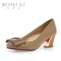 柏西尼2013秋季单鞋新款ol优雅真皮方跟漆皮女鞋中跟搭扣女鞋子 价格:229.00