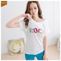 特Catworld女装2013夏装新款11403595彩色ROCK刺绣T恤 价格:26.91