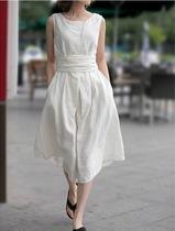 亚麻腰间系带长款连衣裙无袖夏装女新款飘逸森女多色 价格:85.00