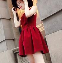 包邮 秋装新款 休闲百搭丝绒连衣裙 无袖圆领背心裙女装裙子 T42 价格:42.00