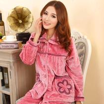舒服歌 秋冬季加厚珊瑚绒睡衣女士长袖法兰绒家居服套装 专柜正品 价格:99.00
