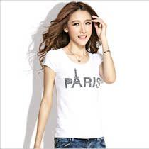 卡玛娅2013夏装新款女装短袖t恤女 韩版修身圆领纯棉打底衫潮 价格:36.00