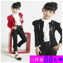 2013新款秋装女童套装靓装外套打底衫精品 三件套中大童小童童装 价格:88.00