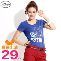 桔熊{KD0299}2013夏季新款女装迪士尼黛西字母圆领短袖女款棉上衣 价格:29.00