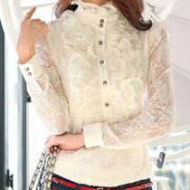丽合衣2013秋装新款蕾丝衫上衣长袖蕾丝打底衫女大码韩版衬衫显瘦 价格:96.00