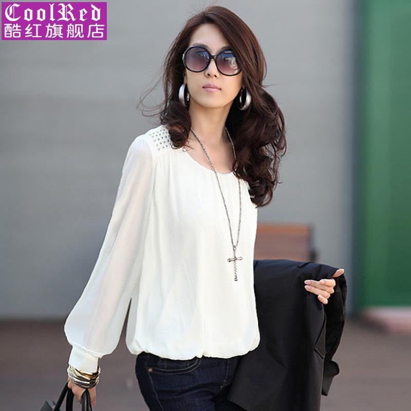 秋装新款2013女装韩版长袖雪纺衫泡泡袖上衣宽松打底衫 价格:48.00