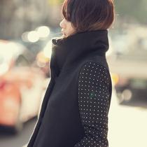 2013秋冬新款韩版女装 中长款修身毛呢外套 黑色韩国正品呢子大衣 价格:189.00