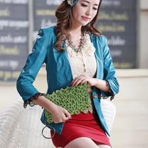 32843810   ◆2013秋装新款 蕾丝边 淑女 百搭 修身蕾丝边 PU皮衣 价格:45.00