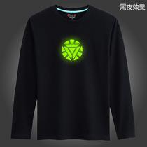 初己 时尚潮牌 钢铁侠 个性夜光T恤 发光衣服 超大号男装胖子长袖 价格:59.00