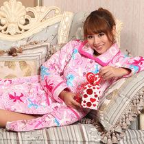 樱蒂婉妮秋冬季女士睡衣家居服加厚珊瑚绒夹棉睡袍浴袍两件套 价格:129.00