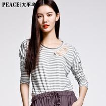 太平鸟女装2013新款 拼花边条纹针织衫 长袖圆领T恤女 价格:67.00