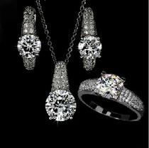 欧美奢华全微镶瑞士钻 锆石款 钻石项链 耳环 戒指套装女生日礼物 价格:26.50