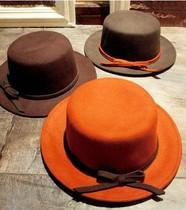 欧美秋冬天英伦范复古蝴蝶结毛呢平顶礼帽 女士时尚优雅帽子包邮 价格:42.80
