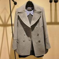 欧美2013秋冬新款西装领中长款呢大衣女修身 妮子毛呢外套尼外套 价格:168.00