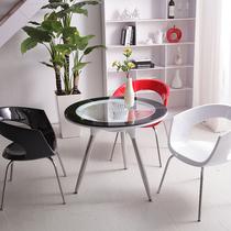 包邮/接待会客 洽谈桌椅组合 钢化玻璃圆桌一桌四椅 小户型圆餐桌 价格:375.00