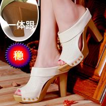 包邮夏款新款凉鞋女真皮凉拖鞋鱼嘴高跟粗跟防水台白色高档女鞋 价格:158.00