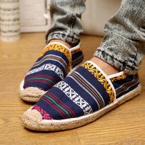 陈冠希潮牌 韩版潮流日常休闲懒人鞋 民族mring风条纹布鞋 男鞋子 价格:57.00