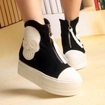 欧洲站2013新款女帆布鞋 韩版潮鞋高帮鞋 松糕厚底鞋高跟休闲女鞋 价格:115.00