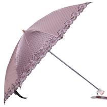 2013太阳城洋伞 二折刺绣花边超细毛笔伞 点点黑胶遮阳伞正品专卖 价格:68.00