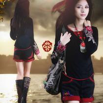 民族风女t恤长袖秋装新款原创设计中国风女装大码刺绣上衣阿卡Q21 价格:138.00