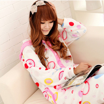 冬季睡衣女士圆点长袖加厚珊瑚绒睡衣套装连帽长款家居服 价格:48.00