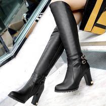 气质金属扣件粗跟超高跟女靴子厚底长靴高筒靴骑士靴子高贵黑色 价格:149.00