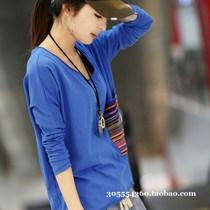 韩版秋装新品2013新款大码T恤长袖 女装圆领宽松休闲蝙蝠袖打底衫 价格:28.00