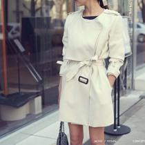 2013韩国代购新款女秋装中长款风衣系带翻领大衣休闲修身显瘦外套 价格:179.00