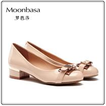 梦芭莎女鞋 欧美范皮带扣装饰马蹄跟时尚百搭PU皮粗跟女单鞋 中跟 价格:179.00