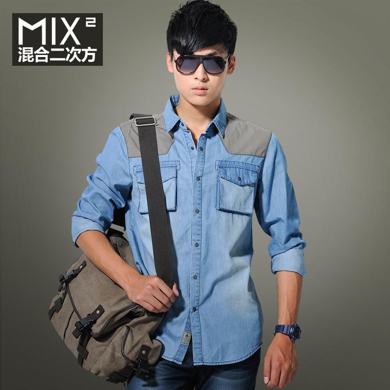 混合二次方 衬衫男长袖衬衫男 牛仔衬衣男长袖 牛仔衬衫 男长袖 价格:169.00