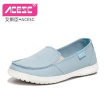 艾斯臣帆布鞋 女鞋子懒人鞋一脚蹬韩版潮鞋低帮鞋休闲学生夏包邮 价格:55.00