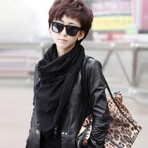 润帛包邮 80支羊毛围巾披肩两用超长 秋冬季女士纯色韩国黑色围脖 价格:89.00