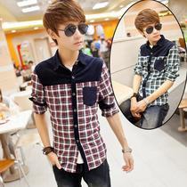 美邦正品秋装长袖T恤日韩个性青少年男装修身长袖衬衫绣花领外套 价格:51.60
