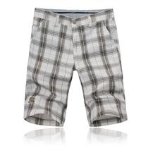 2013夏季最新款男士休闲短裤潮burberry精致刺绣黄蓝白色格子中裤 价格:79.00