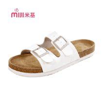 米基情侣沙滩鞋软木拖鞋女夏季潮勃肯鞋真皮一字拖平跟女凉拖包邮 价格:99.00