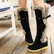 春秋冬季女靴内增高雪地靴平底高筒靴厚底松糕过膝长靴子中靴棉靴 价格:65.10