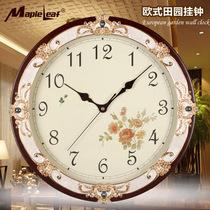 正品MapleLeaf挂钟欧式田园客厅挂钟静音挂钟圆形钟,新款挂钟 价格:145.00